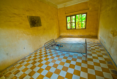 Torture room and bed at the notorious Tuol Sleng Genocide Museum - Phnom Pehn, Cambodia