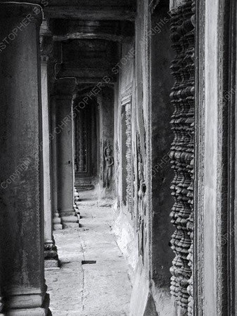 Cambodia - Siem Reap - Angkor - Angkor Wat - corridor with arches and columns