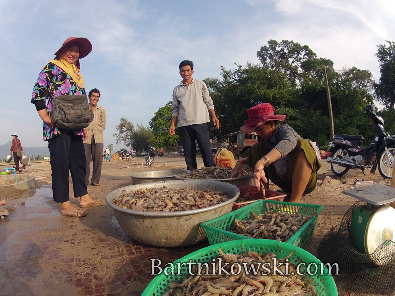This was my first morning in Kampot and I thought I would buy some shrimp for breakfast. I did not know what I was paying so I decided to have something lighter like coffee. Cambodian coffee is amazing.
