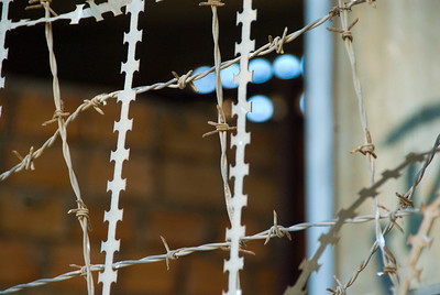 Razor and barbed wire at the Tuol Sleng (S-21) Genocide Museum - Phnom Pehn