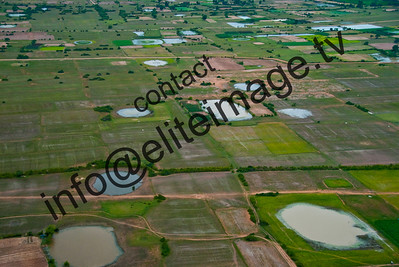 A legacy of the carpet bombing of Cambodia during the Vietnam war - rows of bomb craters in rice fields are clearly visible from the air.
