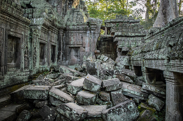 Crumbling ruins at Ta Prohm