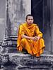 Cambodia - Siem Reap - Angkor - Angkor Wat - people - monk - closeup