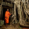 A monk named Bunsung at the Ta Prohm Temple
