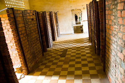 roughly bricked holding cells at the Tuol Sleng (S-21) Genocide Museum - Phnom Pehn, Cambodia