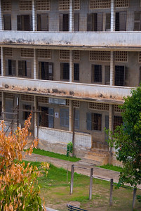 Barbed wire and balconys at the Tuol Sleng (S-21) Genocide Museum - Phnom Pehn, Cambodia
