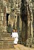 Cambodia - Siem Reap - Angkor - Angkor Thom - Bayon Temple - white-robed monks
