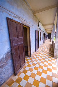 Doors leading to the torture rooms at the Tuol Sleng (S-21) Genocide Museum - Phnom Pehn