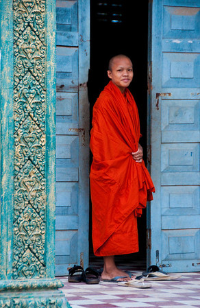 Monk at the Killing Fields Memorial