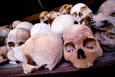 Skulls collected from mass graves at Choeung Ek Killing Fields - Phnom Penh Cambodia