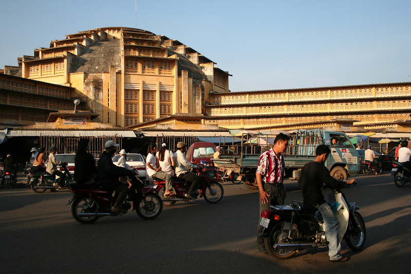 Phsar Thom Thmei (aka Central Market), Phnom Penh, Cambodia, constructed in the 1930s. The building's dome is among the largest in the world.