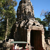 Tuk-tuk at the entrance to Ta Phrom Temple, Angkor. Ta Phrom is better known as the setting for the Angelina Jolie film <i>Tomb Raider</i>.