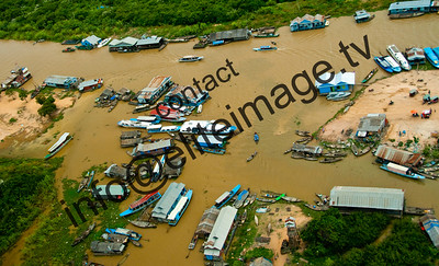 Aerial view of houseboats and the ferry terminal on Lake Tonie Sap near Siem Rap