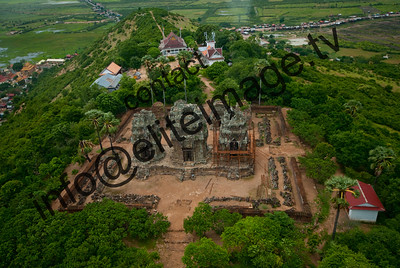 Aerial view of a hill top temple near Angkor Wat, Cambodia
