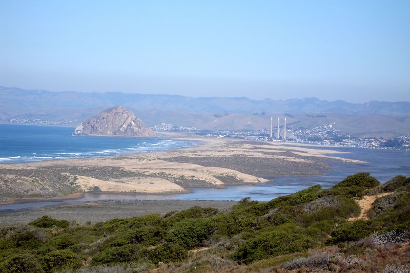 Morro Rock at Morro Bay as viewed from Montana del Oro SP.