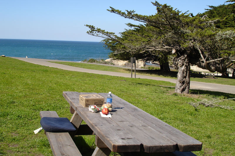 A beautiful clear day and spot for eating lunch.