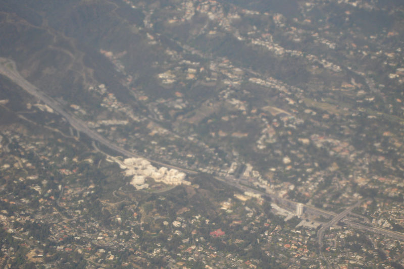 Approaching LAX, we fly over the Getty Center next to I-405 in the Sepulveda Pass.