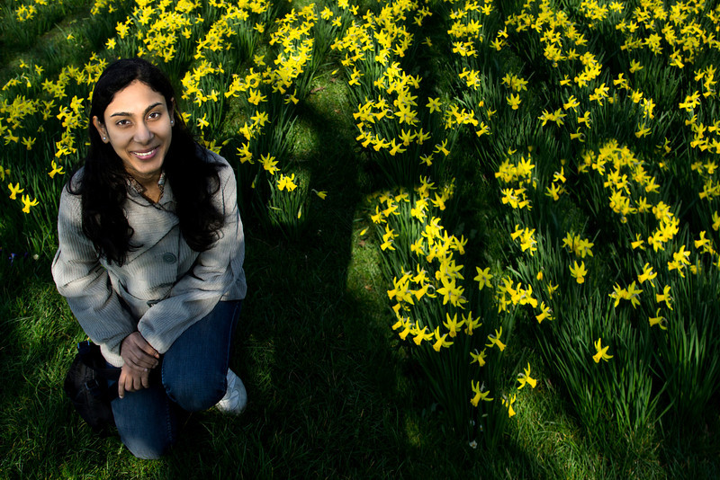 Loved the play of the shadows, and the vibrancy of the daffodils and Smitha's smile :) At Parker's Piece gardens.