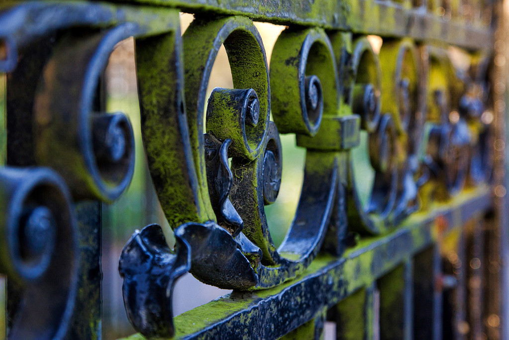 """A weathered gate at the entrance to the """"Avenue"""""""