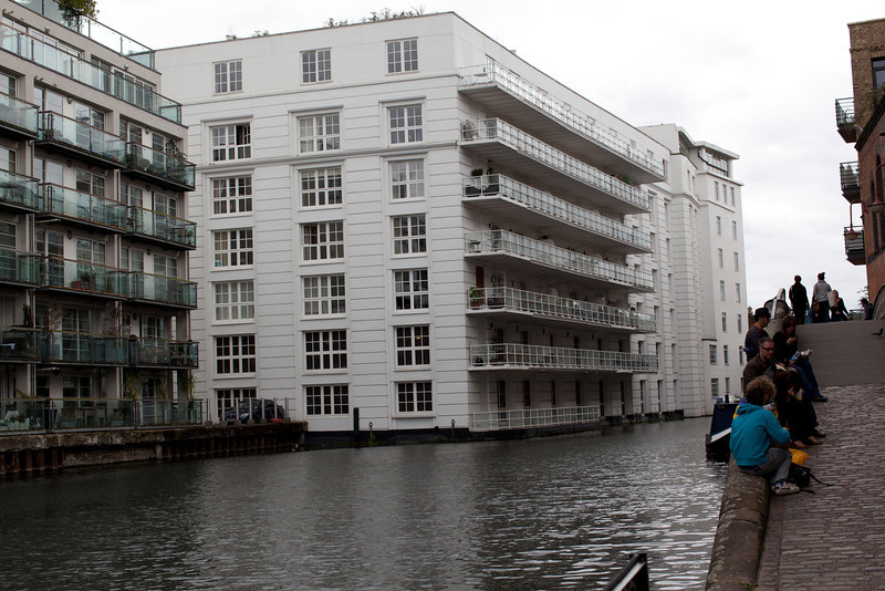 Modern apartment building on the edge of the canal.