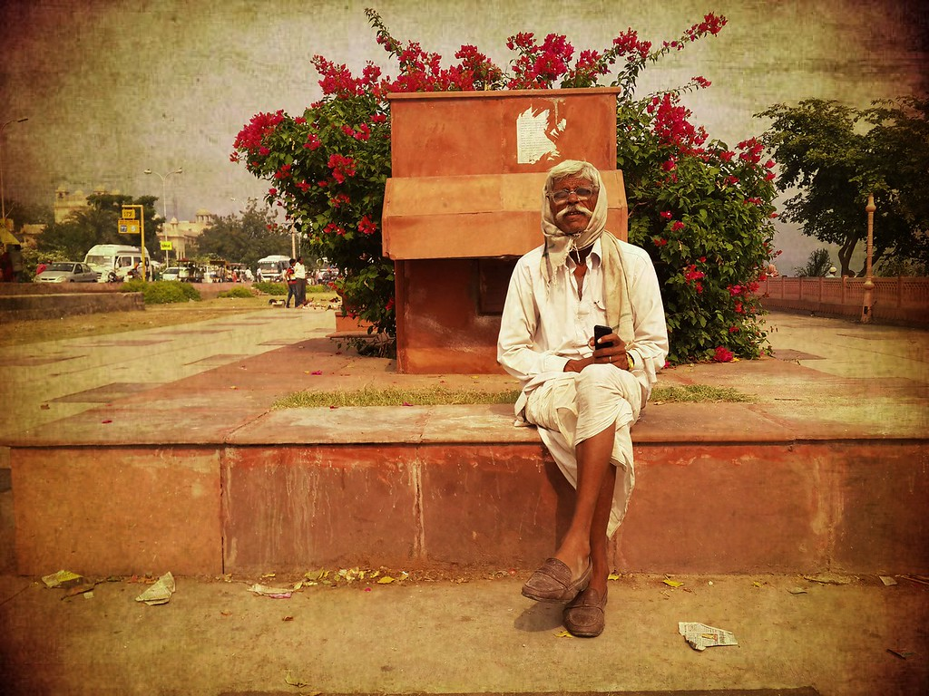 An old man rests in Jaipur.