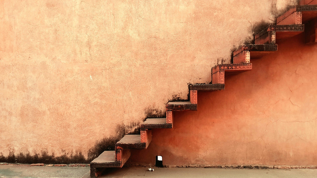 Empty stairs in a fort.