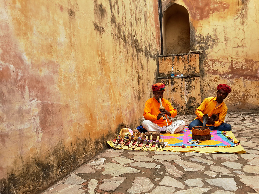 Snake charmers at work in Jaipur.
