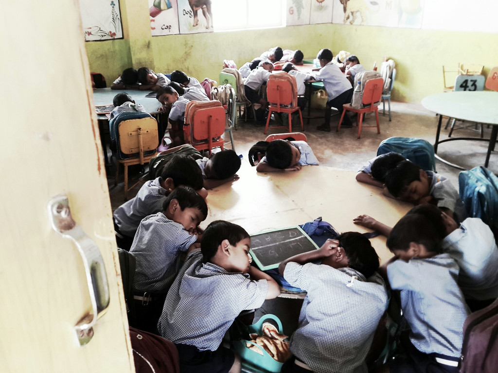Students enjoy a hard earned nap at the Good Shepard School in Uddamarry.