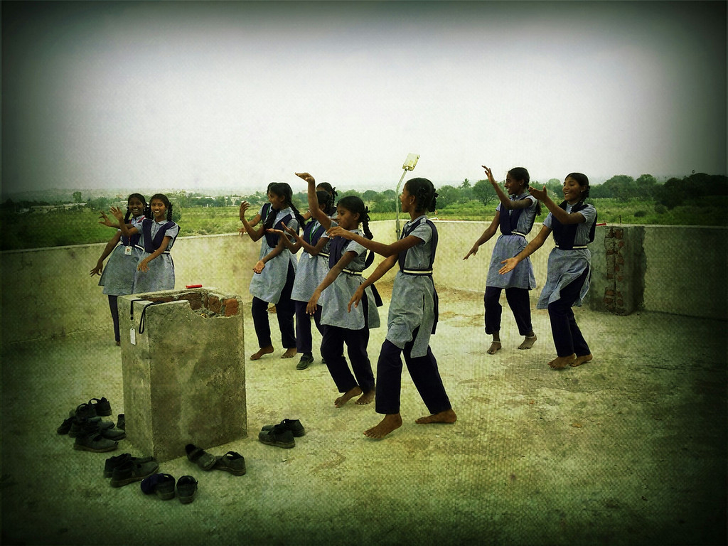 School girls rehearse a dance at the Good Shepard School in Uddamarry.