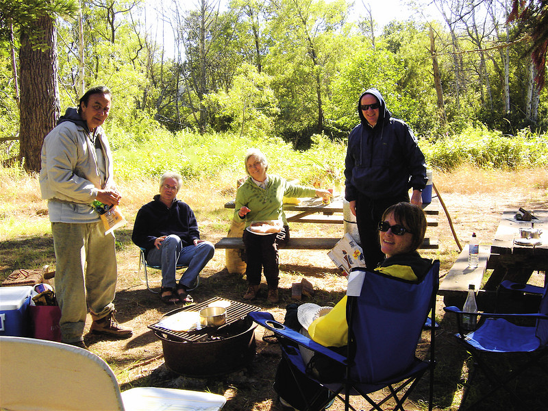 Robert, Jerry, Regina, Roland, and Marcy at the campsite