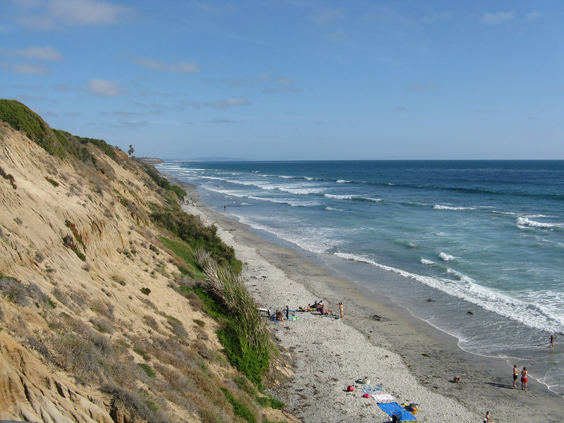 Looking south dow the beach. La Jolla is way off in the distance.