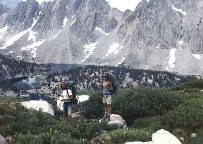 Ron and Gary - Rae Lakes, just north of the Kearsarge Pass on the John Muir Trail, eastern Sierra Nevada, California. Circa 1976 (est)