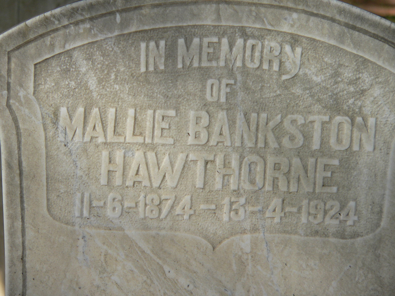 Mallie Bankston Hawthorne (1874-1924)