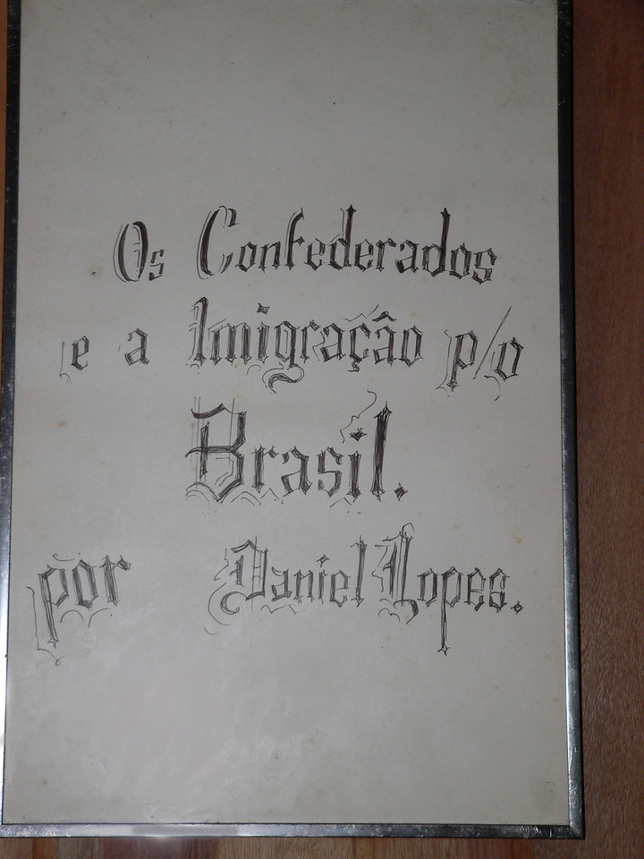 Inside the small mueseum, a calligraphic ode to the Os Confederados and their immigration to Brasil.