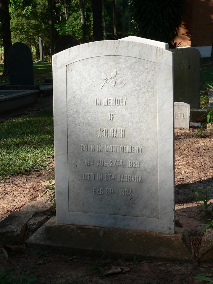 A. G. Carr<br /> Born: Montgomery, Alabama, 1829<br /> Died: Santa Barbara, Sao Paulo, 1884