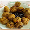 Champiñones rebozados - breaded mushrooms with sweet berry sauce