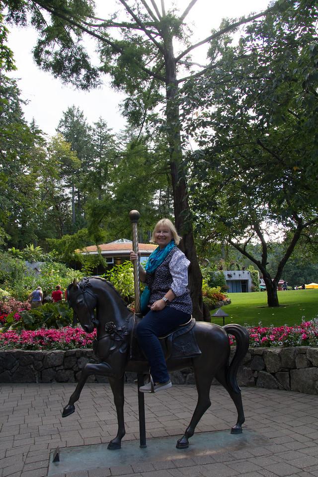 Carousel horse in garden