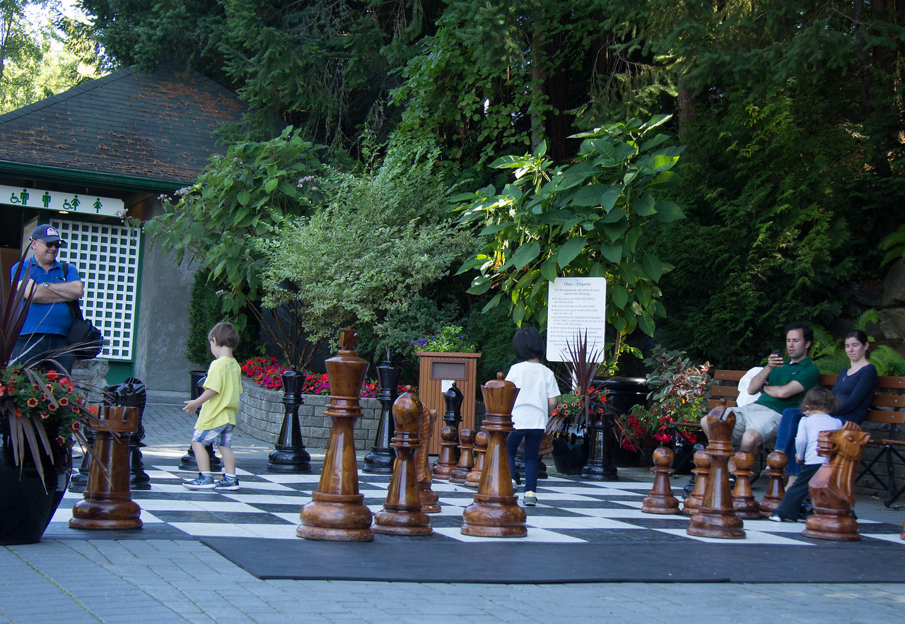 Large chess game Butchart gardens