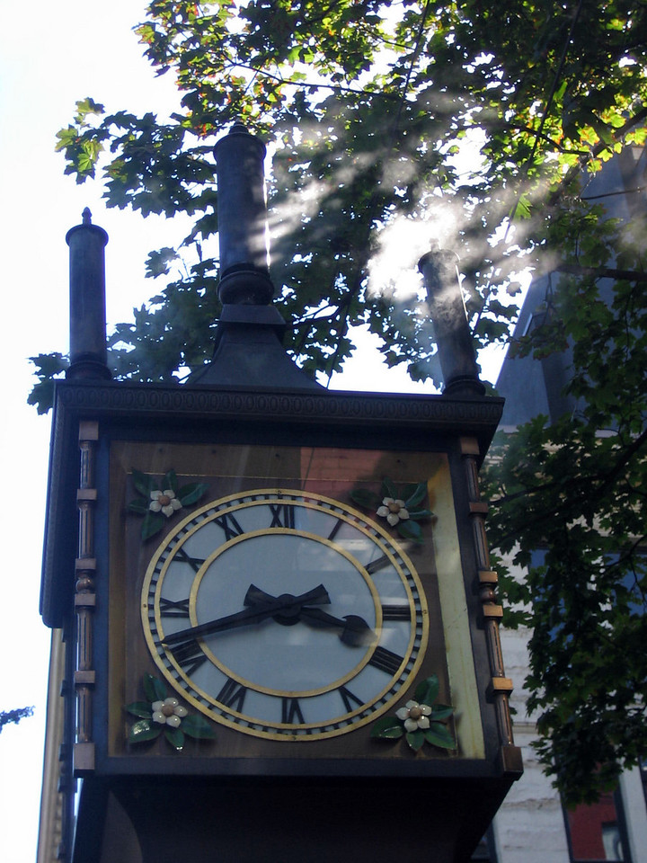 Famous steam clock in Gastown part of Vancouver.