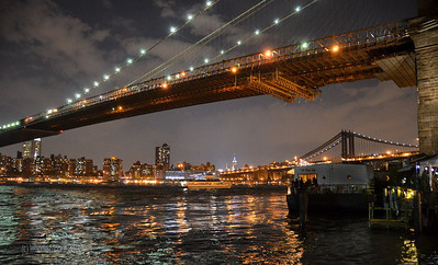 The Brooklyn Bridge across the East River.