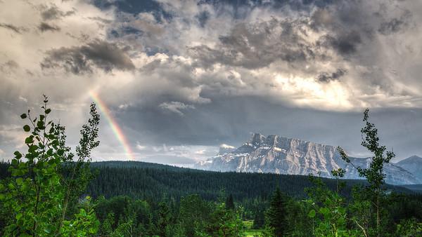 Rundle Mountain Rainbow