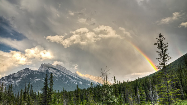 Rundle Mountain Rainbow