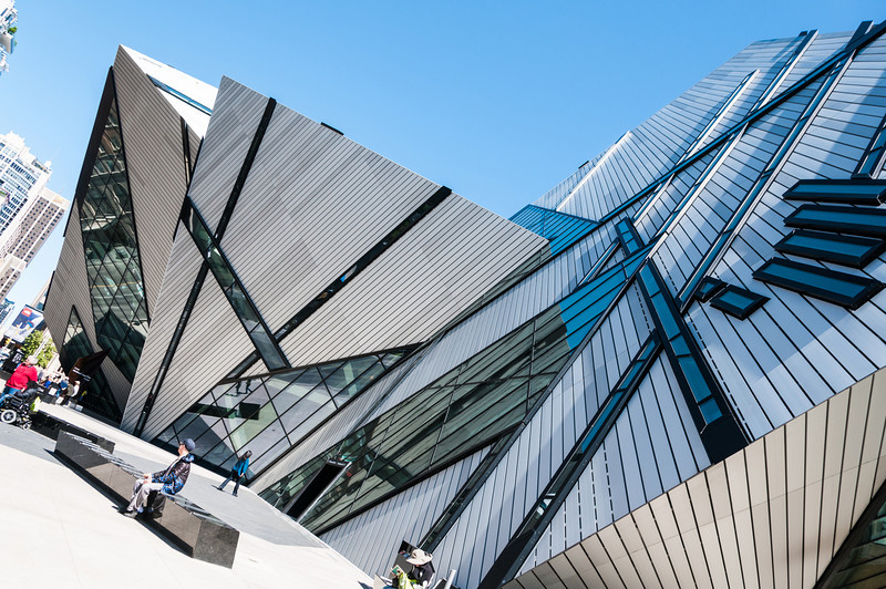 Curious building is the Royal Ontario Museum.