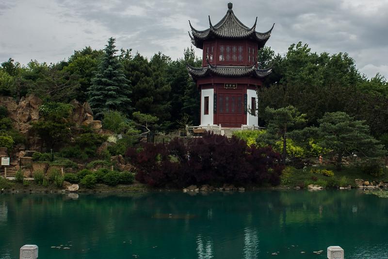 Pagoda and traditional lake, Montreal Botanical Gardens.