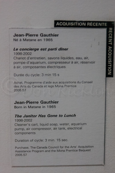 The Janitor Has Gone to Lunch,<br /> Montreal Museum of Fine Arts.