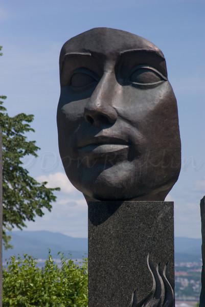 A modern sculpture in old Quebec City.