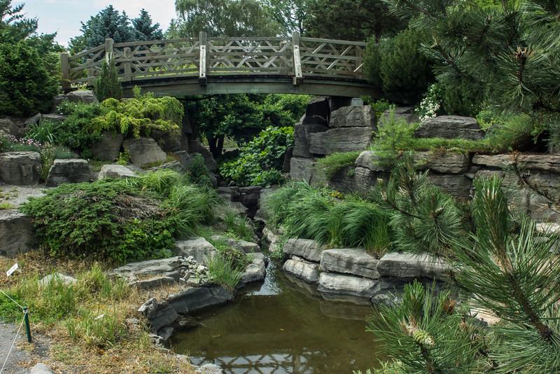 Rocky landscape with bridge, Montreal Botanical Gardens.
