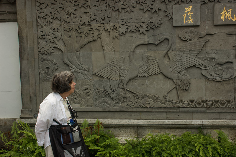 Leona admiring Swan dance Bas Relief, Oriental section of Montreal Botanical Gardens.