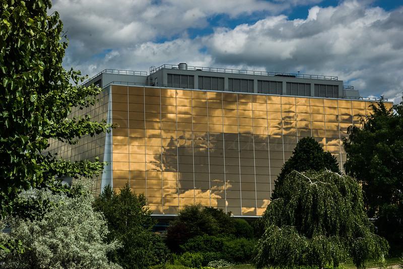 Bronze reflective windows.