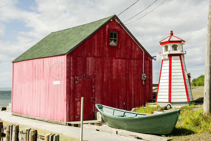 Boat house, lighthouse ,Dory, Port George on the Bay of Fundy, Nova Scotia, Can